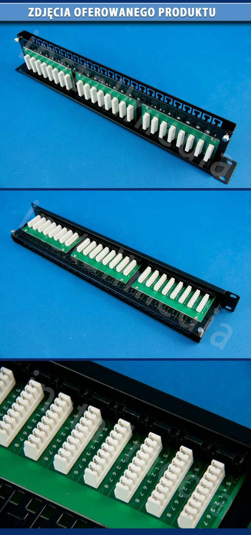 "48-portowy patch panel UTP cat.6 19"" z listwą 1U 8P8C"